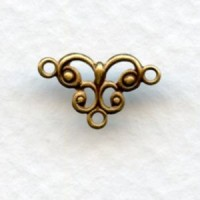 Filigree Connector Drops Oxidized Brass 13mm (12)