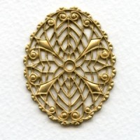 Elegant Oval Filigree Raw Brass 45x35mm (1)