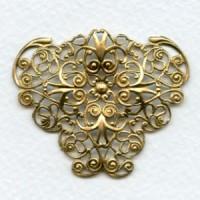 Ornate Filigree 47mm Triangle Shape Raw Brass (1)