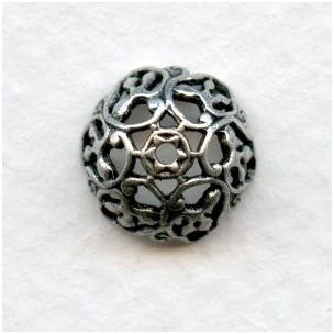 Elaborate Filigree Bead Caps 9mm Oxidized Silver (6)