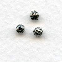 Tiny Fluted Round Spacer Beads Silver Plated 3mm