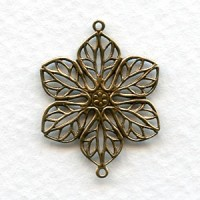 Filigree Flower Connectors Oxidized Brass (6)