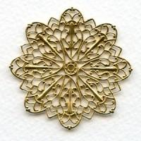 Round Ornate Filigree Raw Brass 47mm (1)