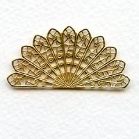 Filigree Fan Shape Raw Brass 44mm (6)
