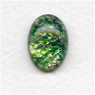 Green Glass Opal Cabochon Handmade 18x13mm (1)