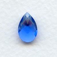 ^Briolette Sapphire 13x8.5mm Pear Shape Glass Pendant