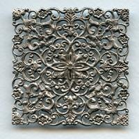 Large Ornate Filigree Square Oxidized Silver