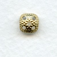 ^Most Popular Square 7mm Bead Cap Raw Brass (24)
