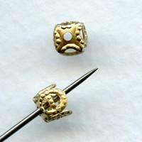 Square Filigree 5mm Bead Caps Raw Brass (24)