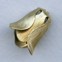 Trumpet Flower Double Layer Bead Caps Raw Brass 18mm (4)