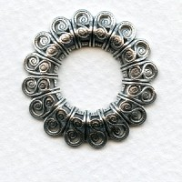 Filigree Raised Frame Button Mount Oxidized Silver 29mm (1)