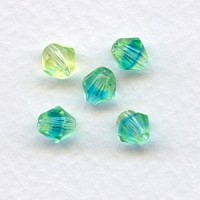 Lime and Aqua Faceted Bicone Glass Beads 6mm