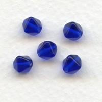 ^Cobalt Blue Square Bi-Cone Glass Beads 6x6mm