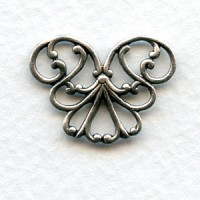 Corner or Connector 21mm Filigree Oxidized Silver (6)