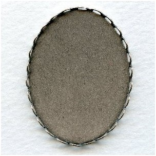 Lace Edge Settings 30x22mm Oxidized Silver (6)