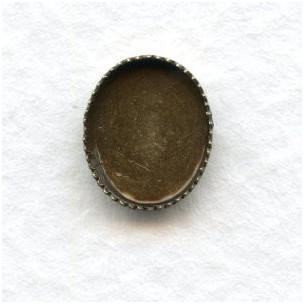 Serrated Edge Settings 10x8mm Oxidized Brass (12)