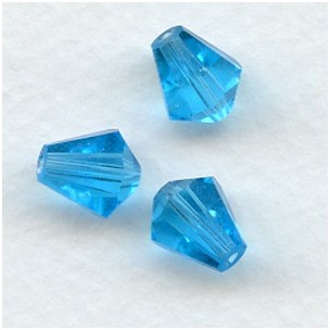 Aquamarine Bell Shape Faceted Glass Beads 10x9mm