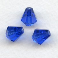 ^Sapphire Bell Shape Faceted Glass Beads 10x9mm