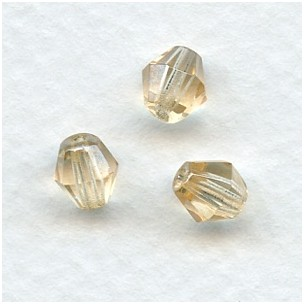 ^Honey Faceted Bicone Glass Beads 6mm