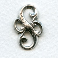 Bold Floral Connector Oxidized Silver 23mm (6)