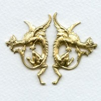 Gothic Style Dragon Stampings Raw Brass (1 set)
