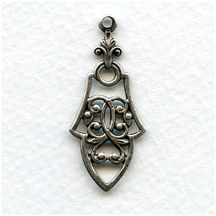Pendant Drops Gothic Details Oxidized Silver 36mm (12)