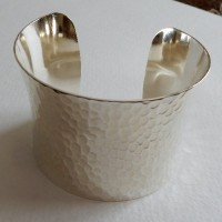 Hammered Concave Bright Silver 49mm Cuff (1)