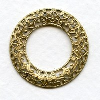Filigree Domed Open Circles Raw Brass 28mm (3)