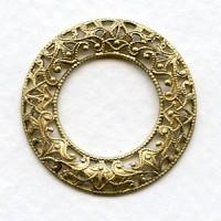 Filigree Domed Open Circles Raw Brass 28mm (3)