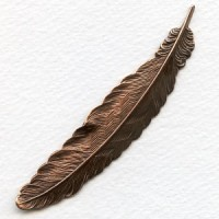 Medium Feather Stampings Oxidized Copper 88mm (2)
