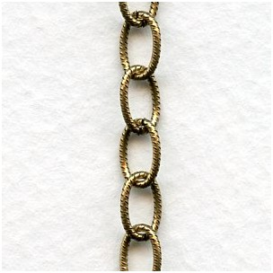 Antique Gold Brass Plated Steel Chain Oval 8x5mm Links