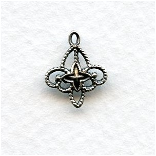 Filigree Connector Drops Oxidized Silver (12)