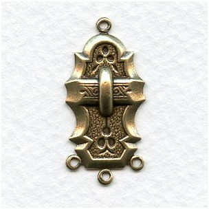 Dramatic Deco Style Connector Oxidized Brass (6)