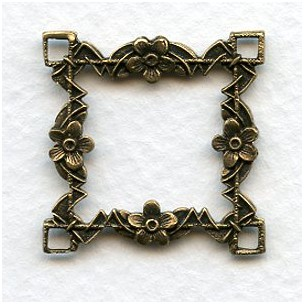 Floral Framework 26mm Connectors Oxidized Brass (2)