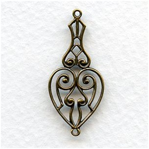 Heart Shape Openwork Connectors Oxidized Brass (6)