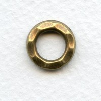 Hammered Round 13mm Connector Ring Oxidized Brass