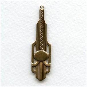 Dramatic Art Deco Oxidized Brass Pendant Drops (2)