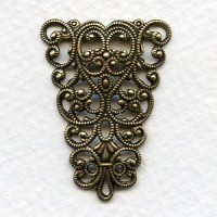 Splendid German Made Filigree Triangle Connector Oxidized Brass (1)