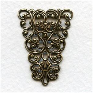 Splendid German Made Filigree Triangle Connector Oxidized Brass (1)