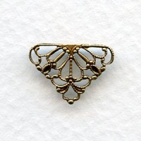 *Tiny Filigree Connector 10mm Triangle Oxidized Brass (12)