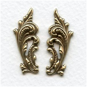 Ornate Leaves 33mm Flourishes Oxidized Brass (1 set)