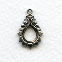 Gothic Detail Oxidized Silver Pendant Drops 19mm (12)