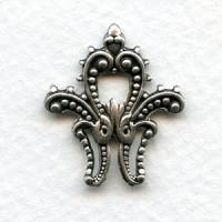 Ornamental Accent Corner 24mm Oxidized Silver (6)