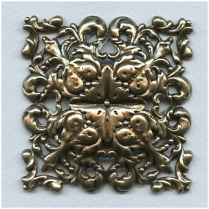Ornate Domed Square Stamping Oxidized Brass