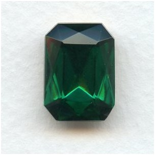 Octagon 18x13mm Emerald Foiled Faceted Stone (1)