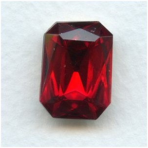Octagon 18x13mm Ruby Foiled Faceted Stone (1)