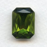 Octagon 18x13mm Olivine Foiled Faceted Stone (1)
