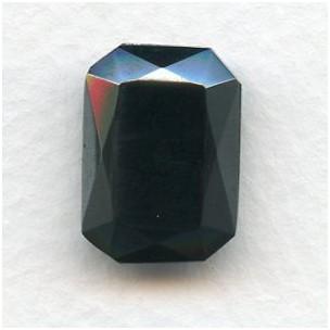 Octagon 18x13mm Hematite Black Faceted Stone (1)
