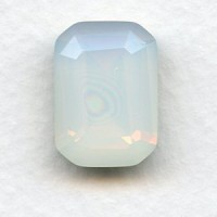 Octagon 18x13mm White Opal Foiled Faceted Stone (1)