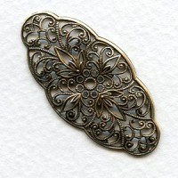 Rare Vintage Filigree 40mm Oval French Oxidized Brass (1)